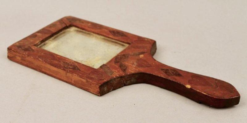 18/19th C Fragment Mirror w Heart & Checker Inlay - 3
