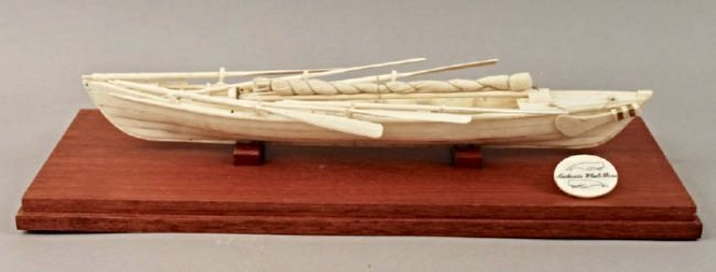 Authentic Whale Bone Boat Model