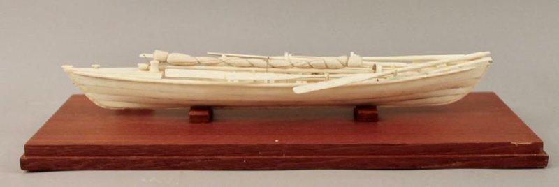Authentic Whale Bone Boat Model - 4