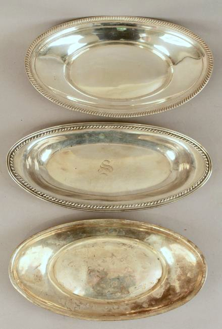 3 Sterling Silver Bread Trays