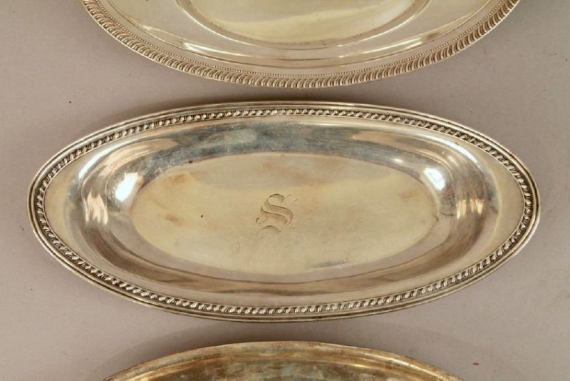 3 Sterling Silver Bread Trays - 3