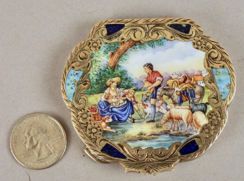 800 Sterling Compact w Painted Porcelain Cover