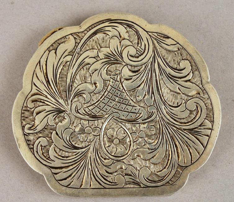 800 Sterling Compact w Painted Porcelain Cover - 2