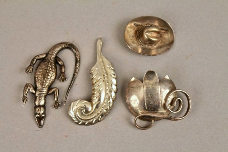 4 Vintage Sterling Brooches 1 Leonore Doskow