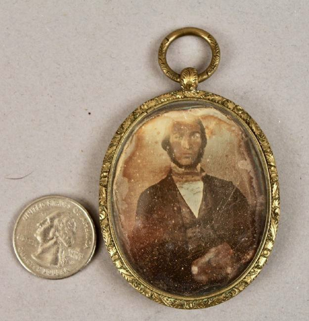 Daguerreotype in Oval Brass Pendant with Tin Type
