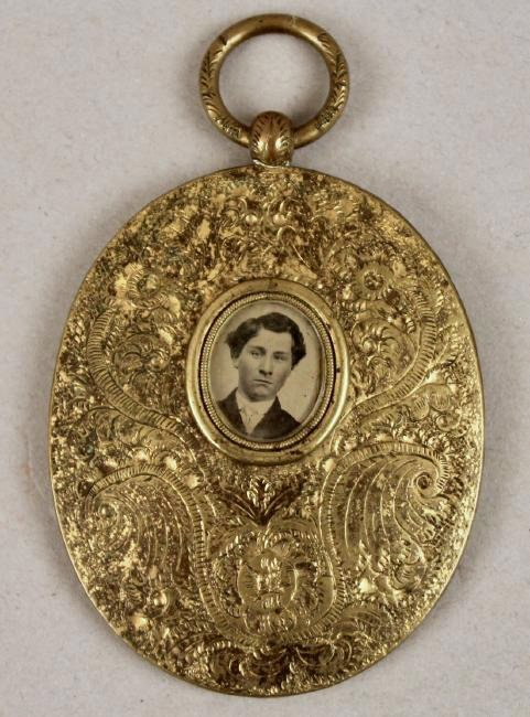 Daguerreotype in Oval Brass Pendant with Tin Type - 2