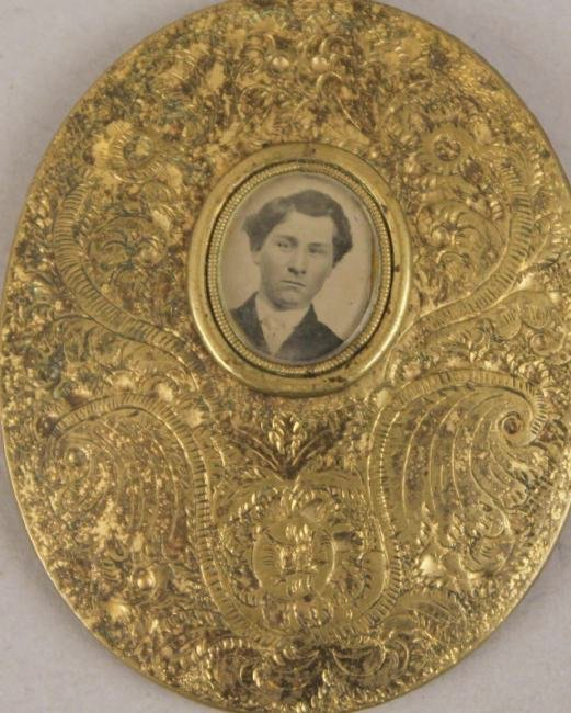 Daguerreotype in Oval Brass Pendant with Tin Type - 3
