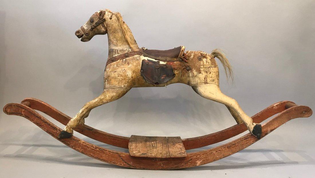 Vintage Folk Art Rocking Horse - 2