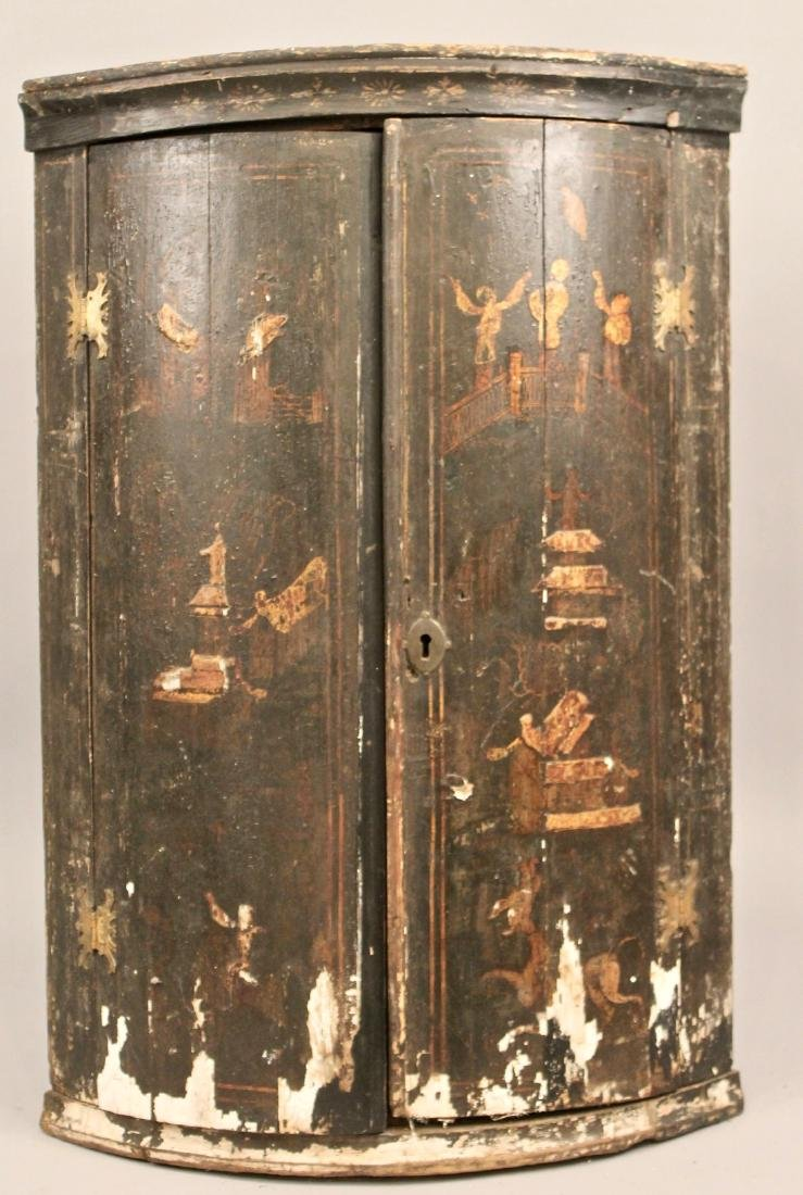 18th C Chinoiseri Hanging Corner Cupboard