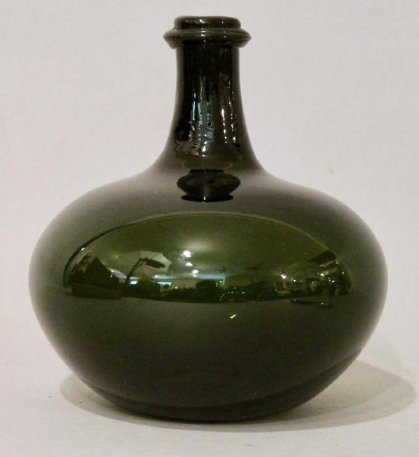 Dark Green Hand Blown Bottle
