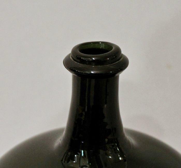 Dark Green Hand Blown Bottle - 3