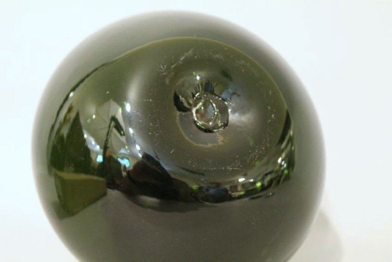 Dark Green Hand Blown Bottle - 4