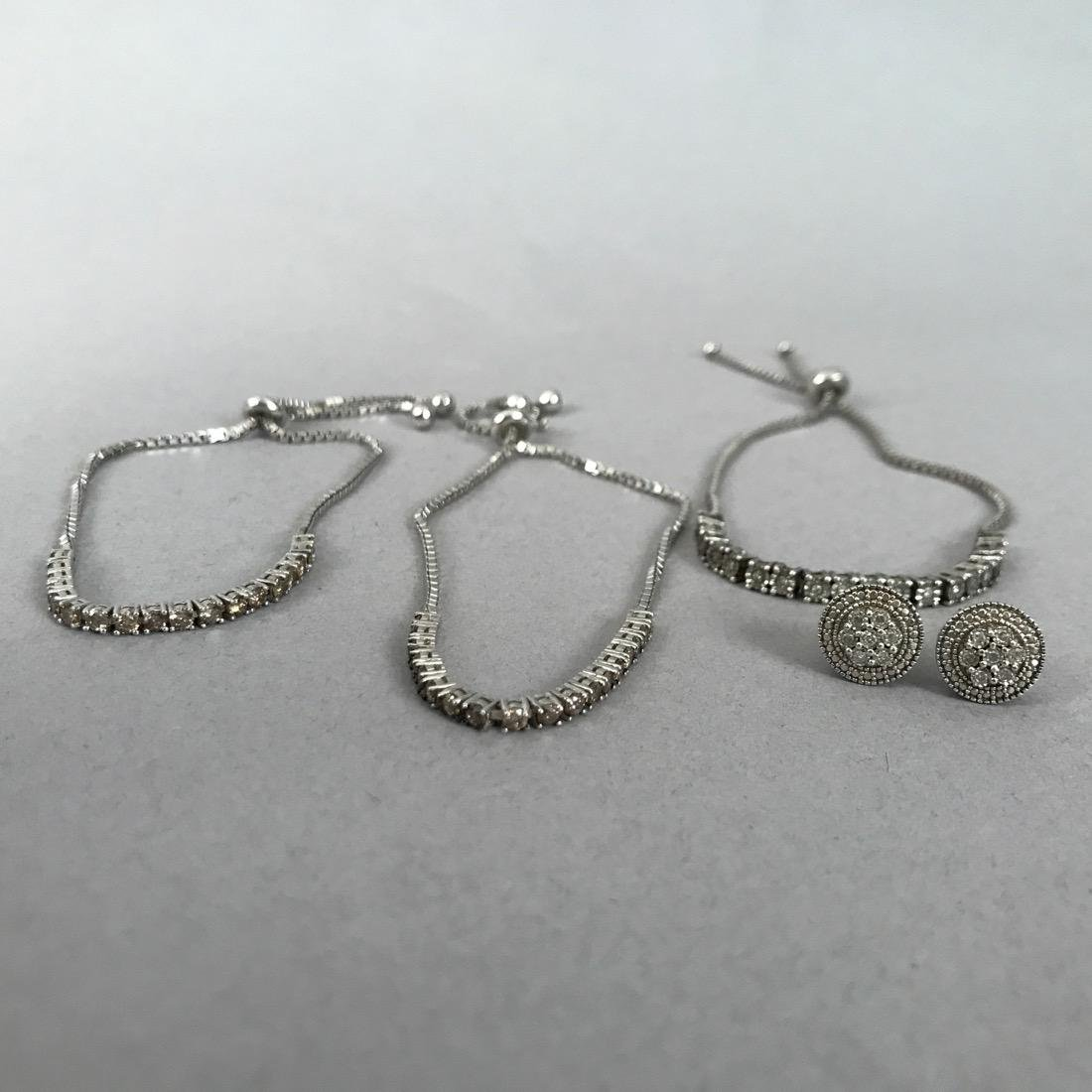 3 Sterling & Diamond Bracelets & Pr Earrings