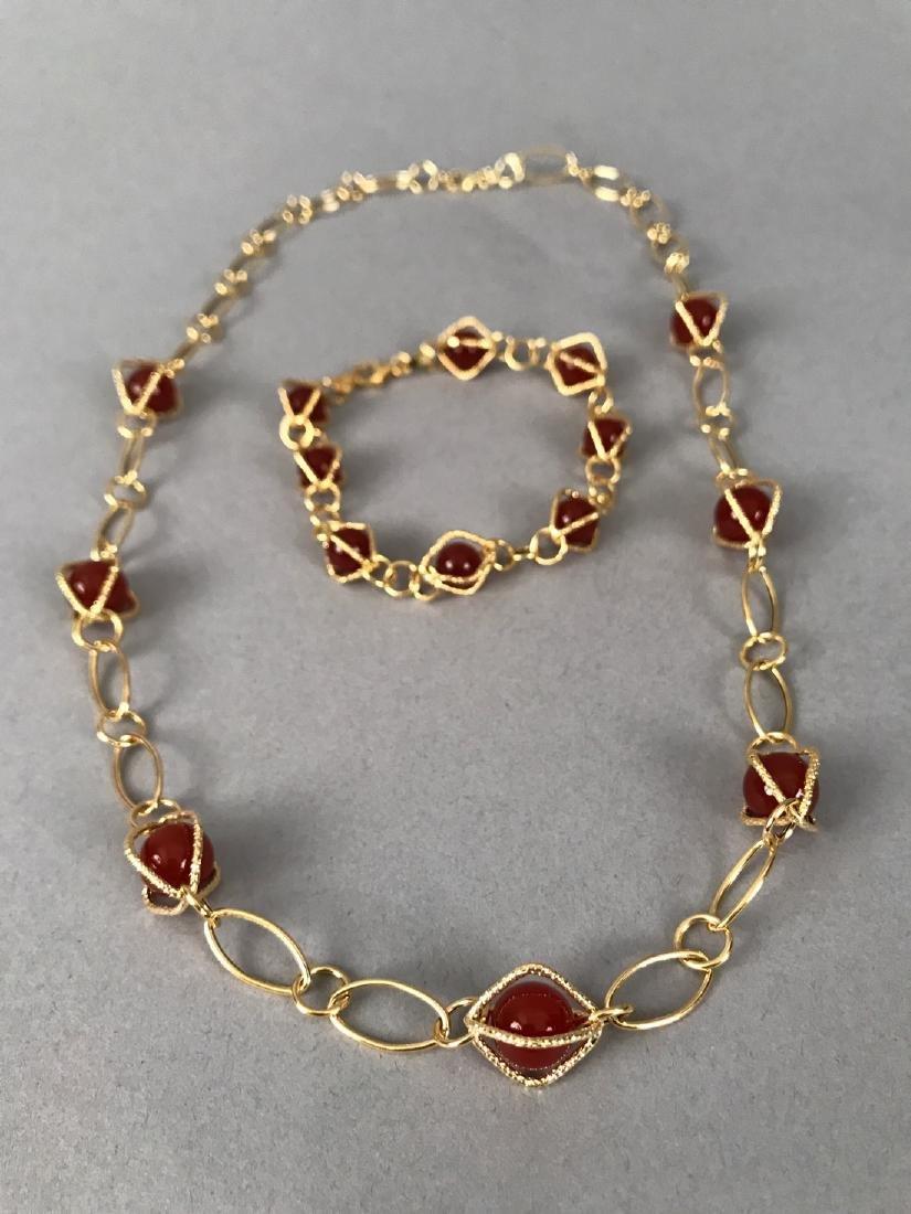 14Kt Gold Bracelet & Necklace w Carnelian