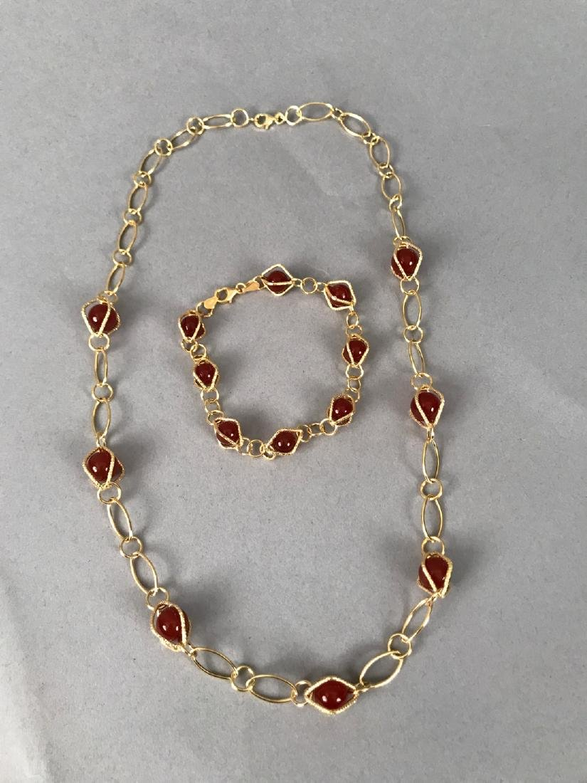 14Kt Gold Bracelet & Necklace w Carnelian - 2