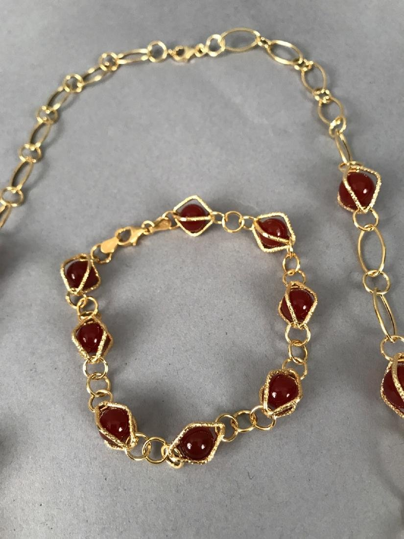 14Kt Gold Bracelet & Necklace w Carnelian - 3