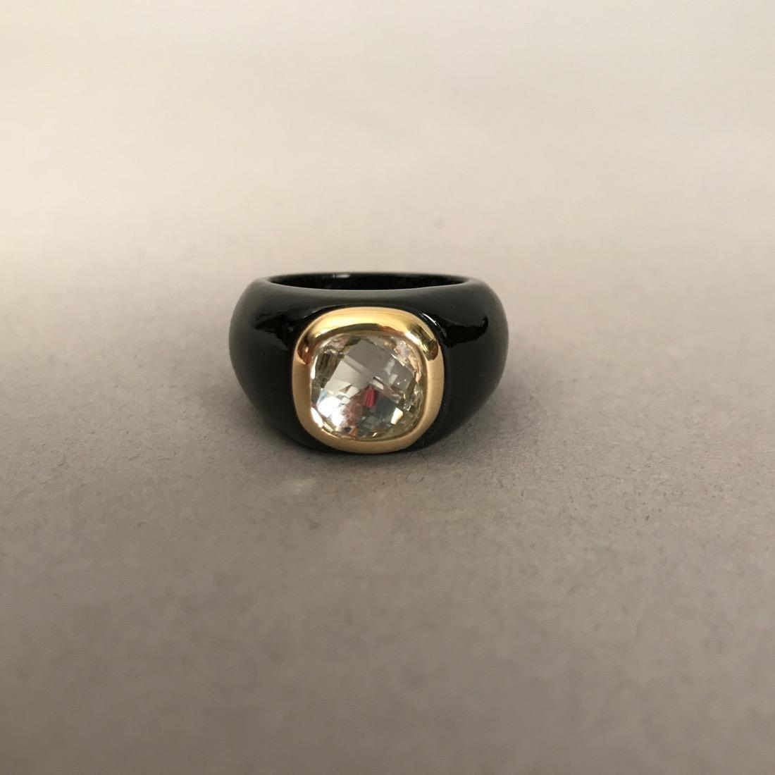 Carved Onyx Ring w Prasiolite in 14K Gold Bezel
