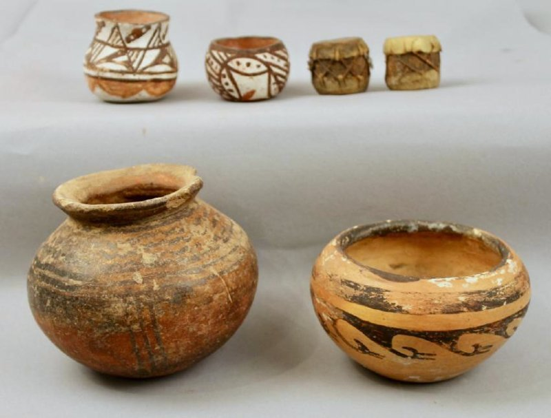 4 Pcs of American Indian Pottery & 2 Mini Drums - 2