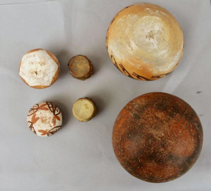 4 Pcs of American Indian Pottery & 2 Mini Drums - 3