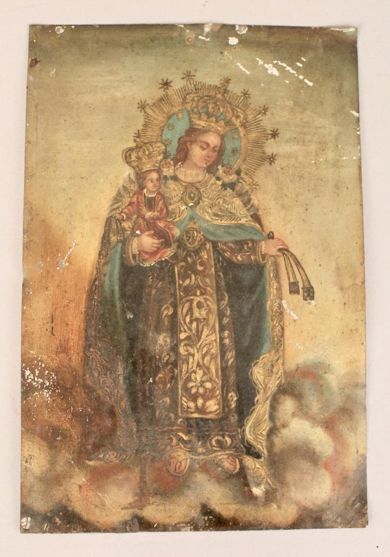 Oil on Tin Religious Icon Madonna & Child