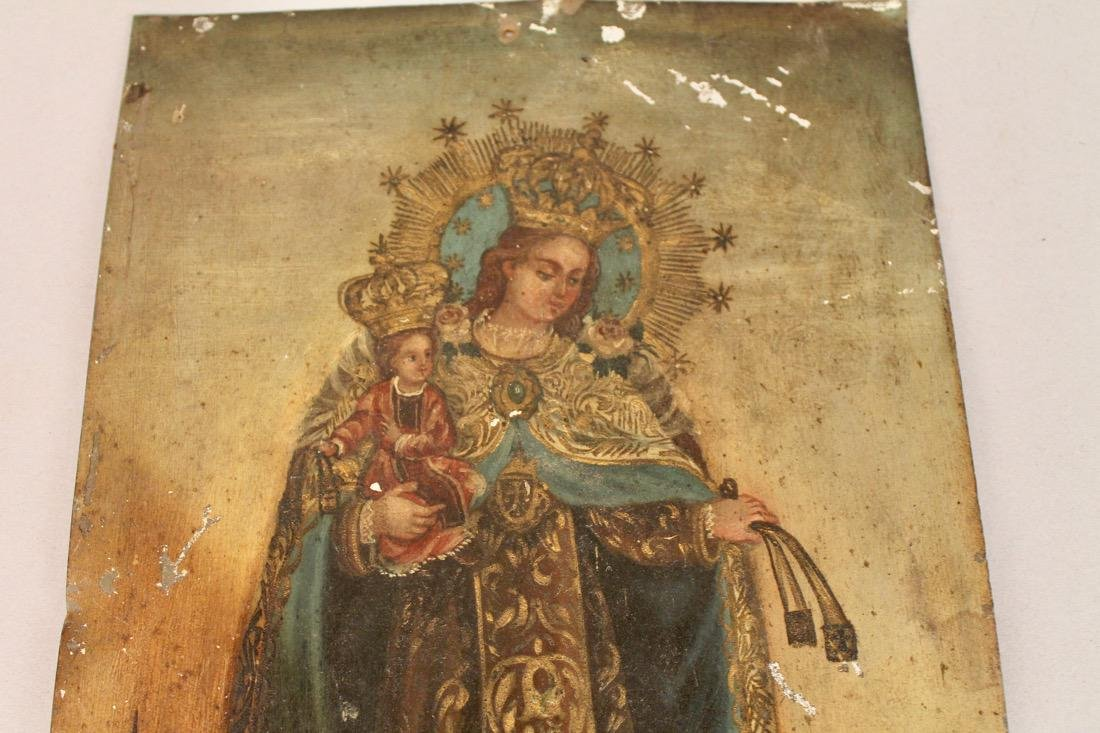 Oil on Tin Religious Icon Madonna & Child - 2