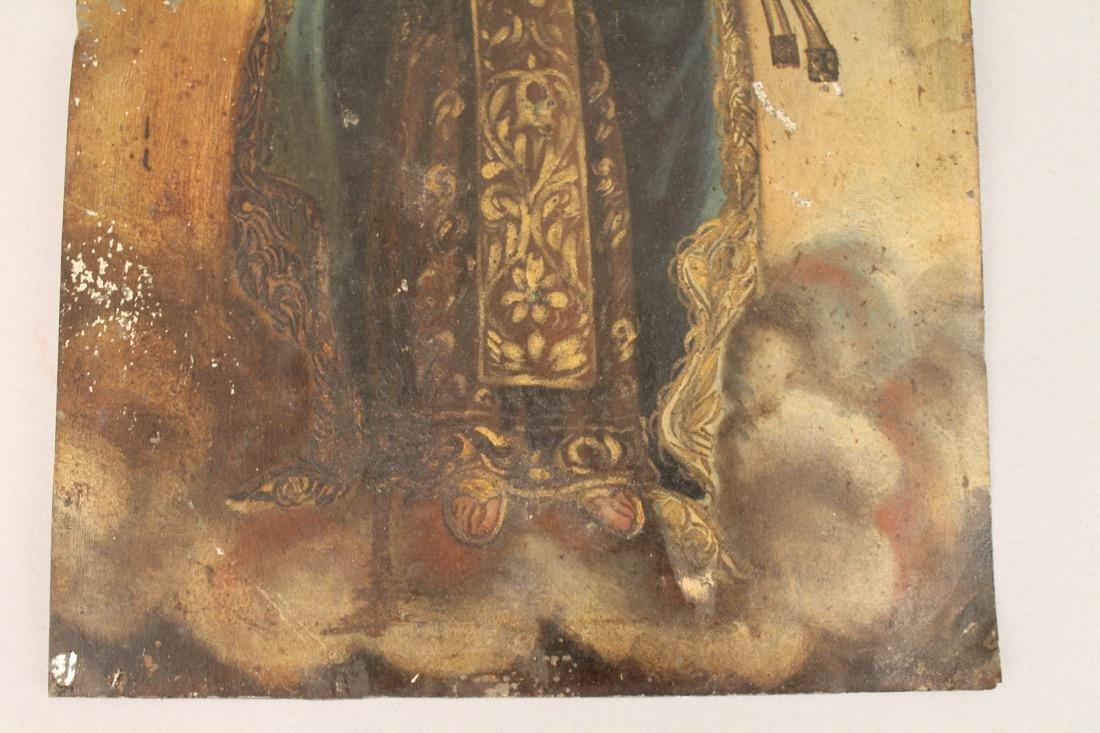 Oil on Tin Religious Icon Madonna & Child - 3