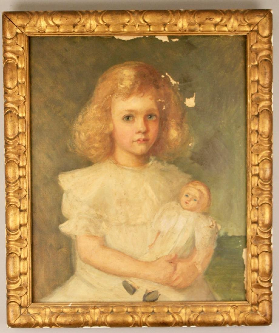 Oil on Canvas of Girl with Doll signed Julia Dewey