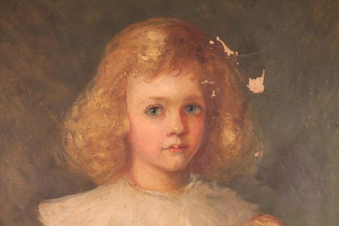 Oil on Canvas of Girl with Doll signed Julia Dewey - 2