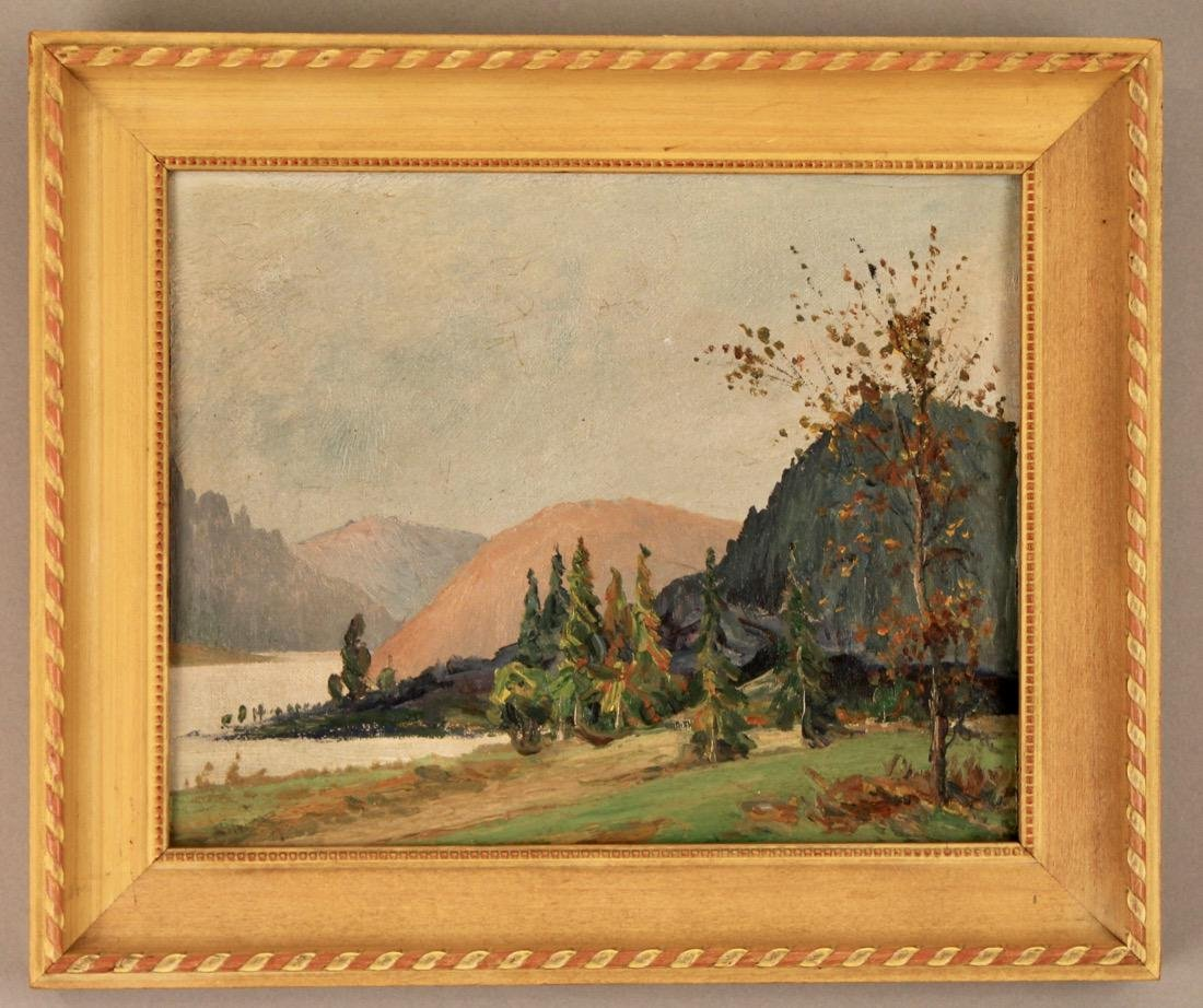 Oil on Board landscape signed on Reverse NY Label