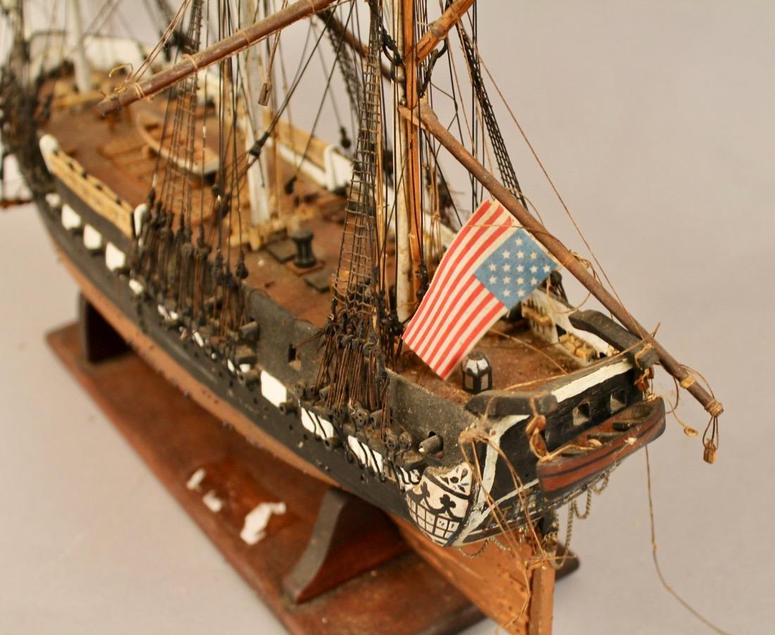 Vintage Frigate Boat Model - 5