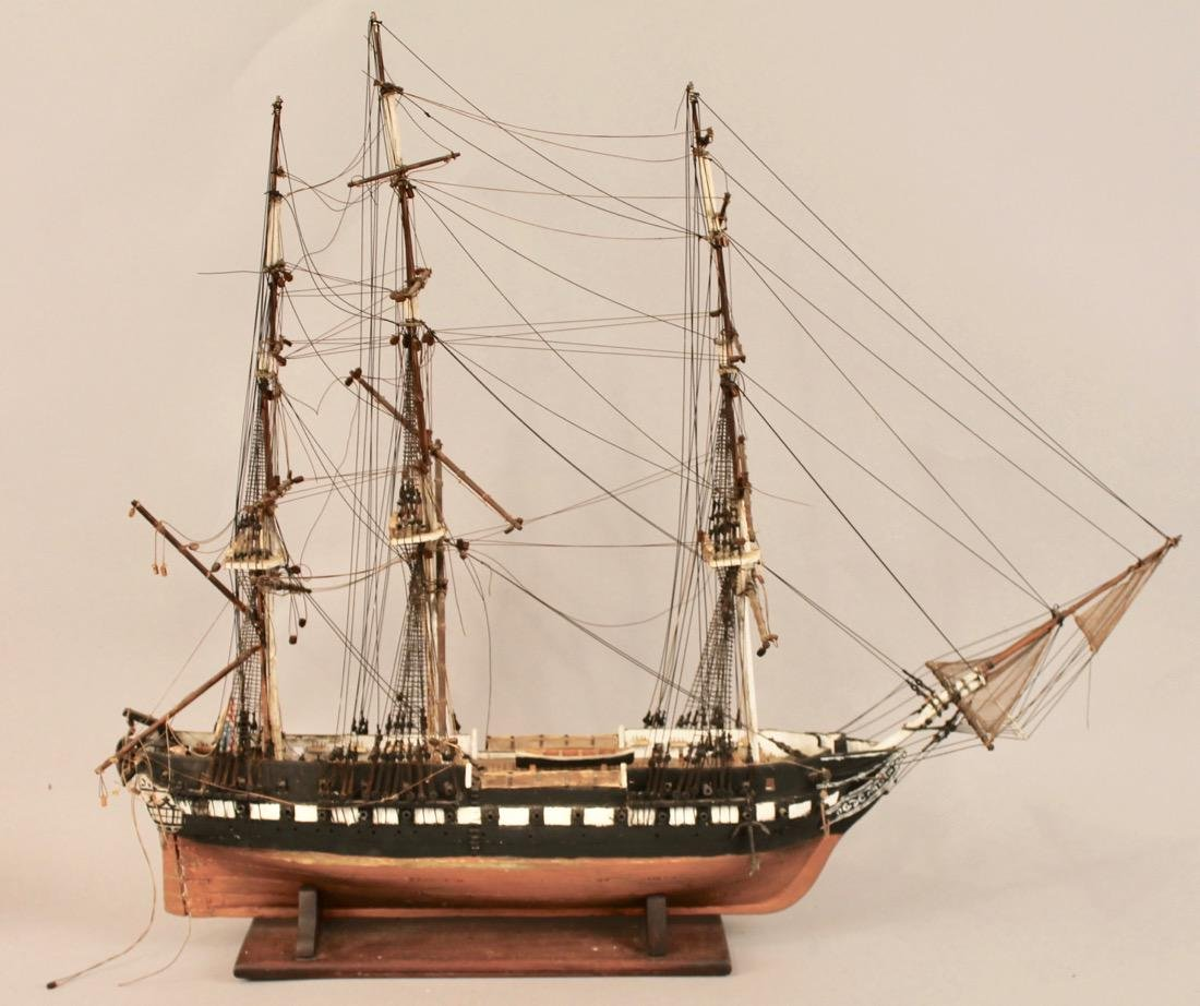 Vintage Frigate Boat Model - 6