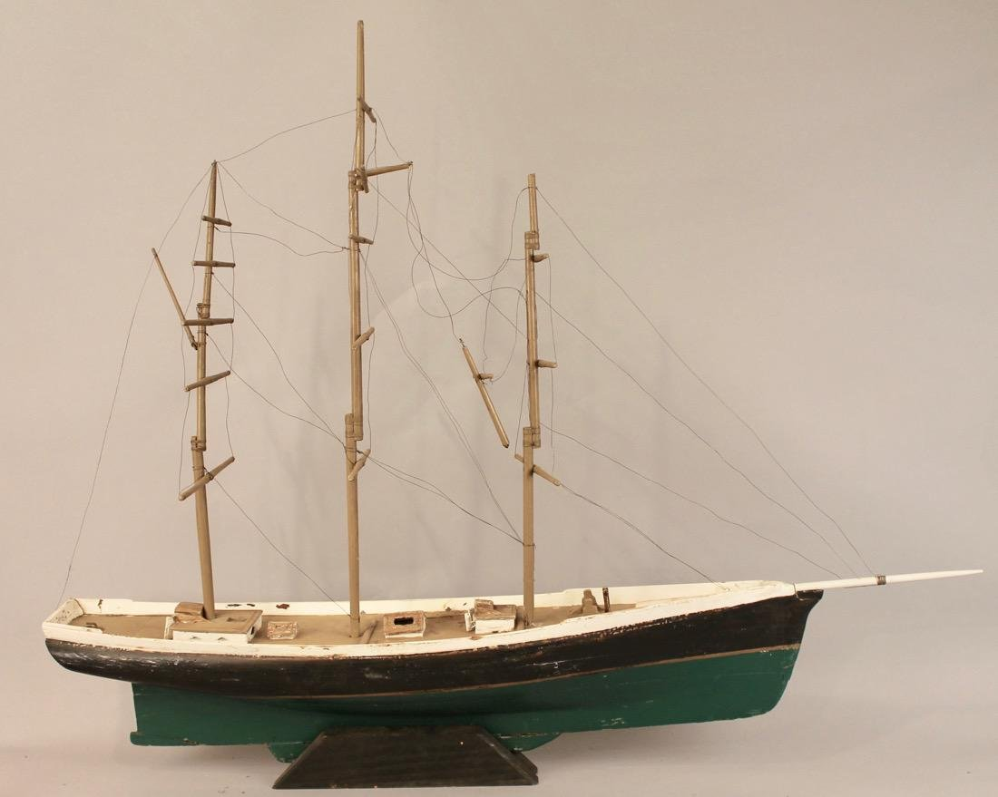 Large 3 Masted Schooner on Stand - 6