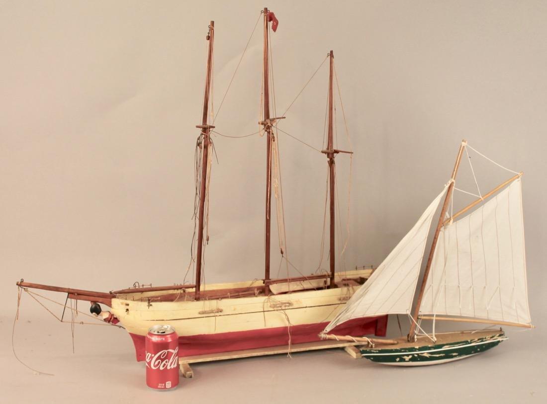 Two Vintage Boat Models, 2 Masted Schooner and Sailboat