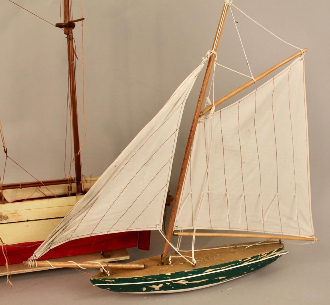 Two Vintage Boat Models, 2 Masted Schooner and Sailboat - 2