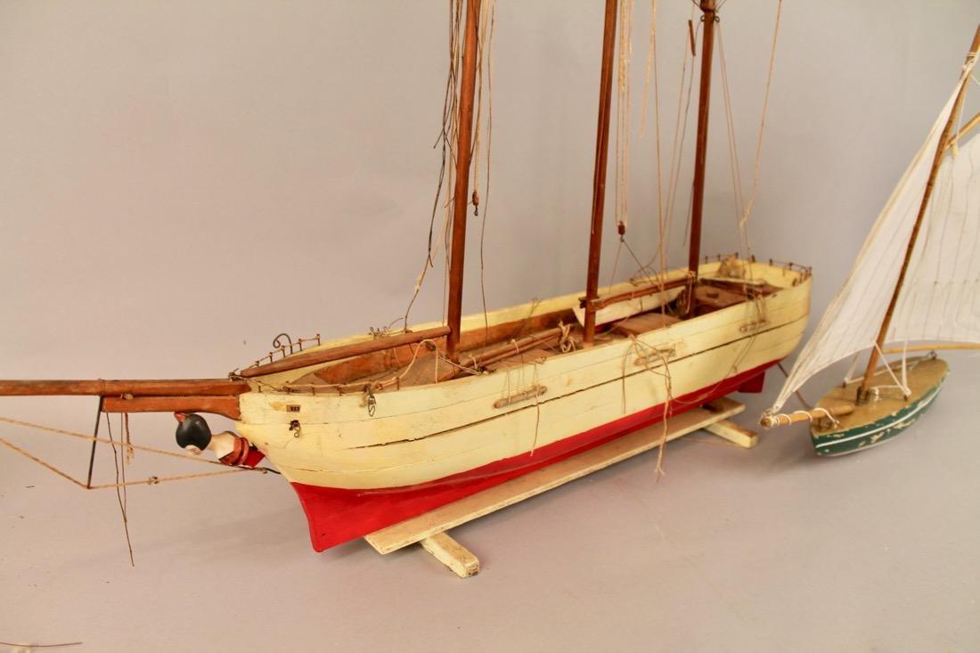 Two Vintage Boat Models, 2 Masted Schooner and Sailboat - 3
