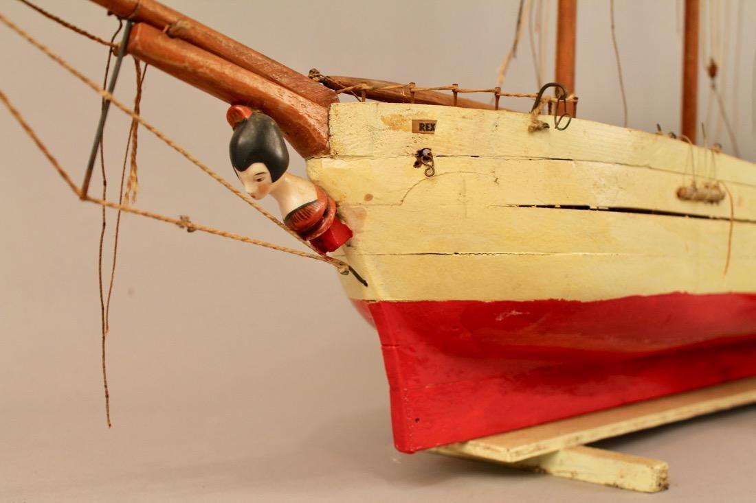 Two Vintage Boat Models, 2 Masted Schooner and Sailboat - 4