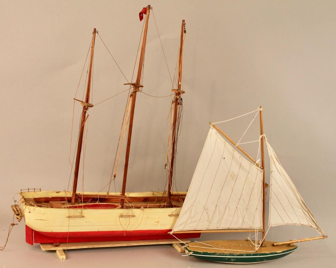 Two Vintage Boat Models, 2 Masted Schooner and Sailboat - 5