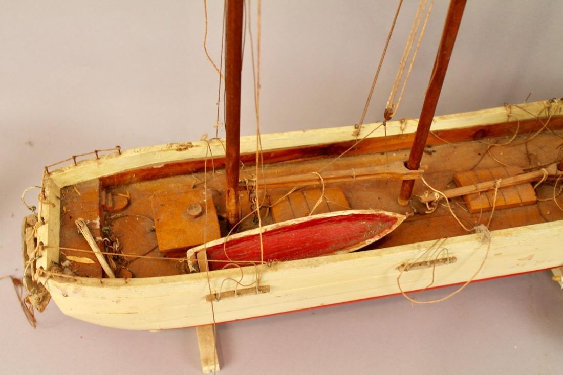 Two Vintage Boat Models, 2 Masted Schooner and Sailboat - 6