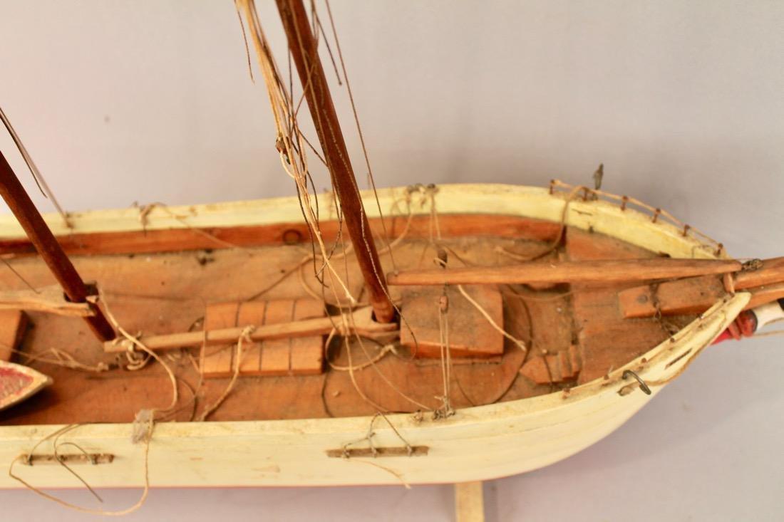 Two Vintage Boat Models, 2 Masted Schooner and Sailboat - 7
