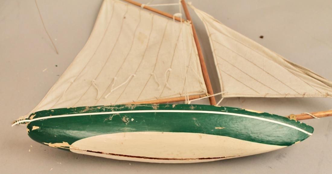 Two Vintage Boat Models, 2 Masted Schooner and Sailboat - 8
