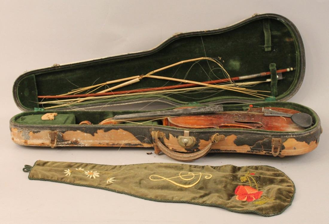 Vintage Violin in case with Embroidered Cover