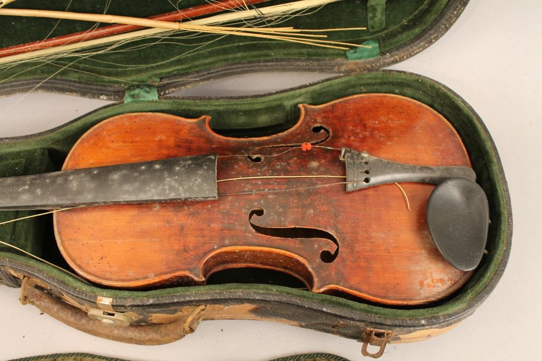 Vintage Violin in case with Embroidered Cover - 2