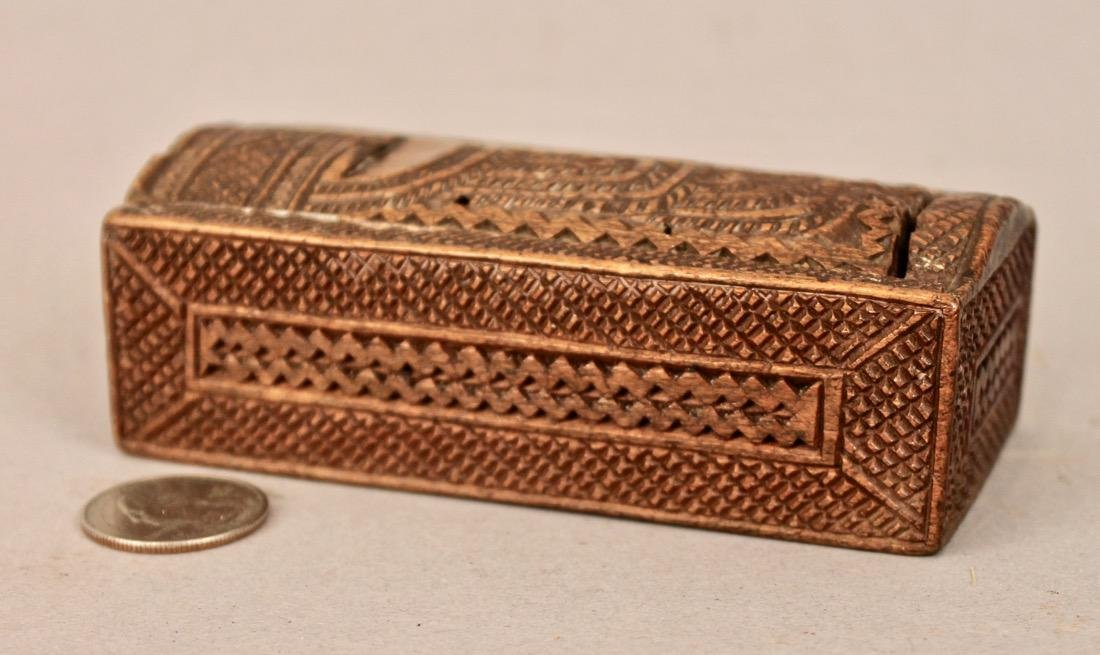 Small Sized Chip Carved Box with Sliding Lid