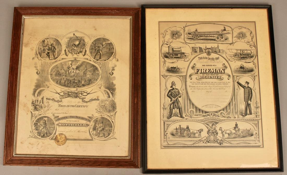 2 Vintage Fireman Certificates New York