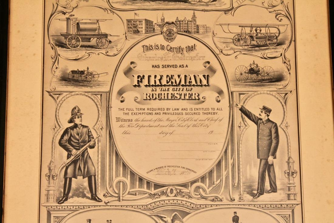 2 Vintage Fireman Certificates New York - 5