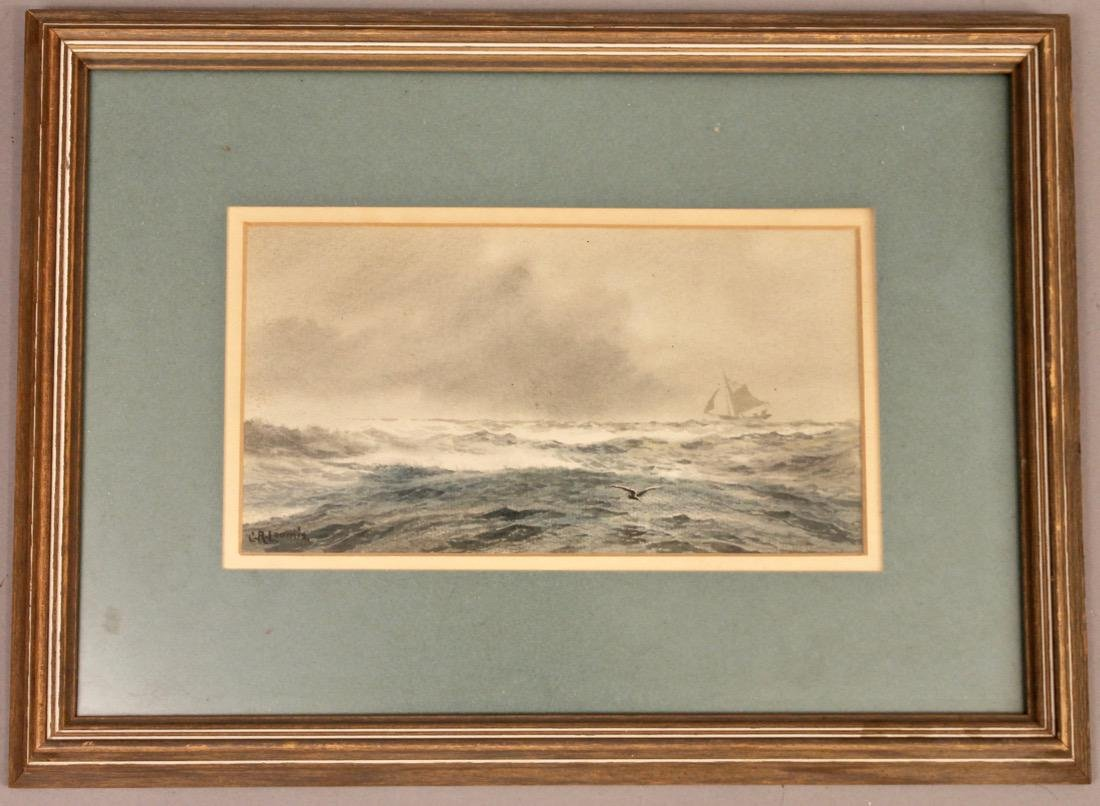 C.R. Loomis Watercolor on Paper Ocean w Sailboat