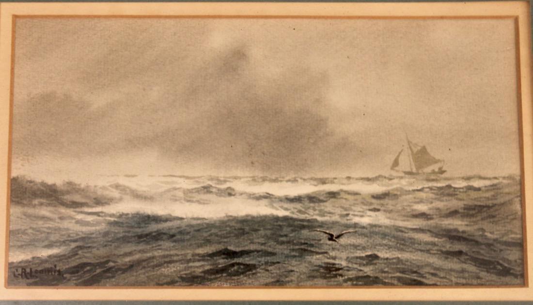 C.R. Loomis Watercolor on Paper Ocean w Sailboat - 2