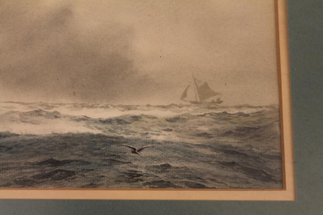 C.R. Loomis Watercolor on Paper Ocean w Sailboat - 3