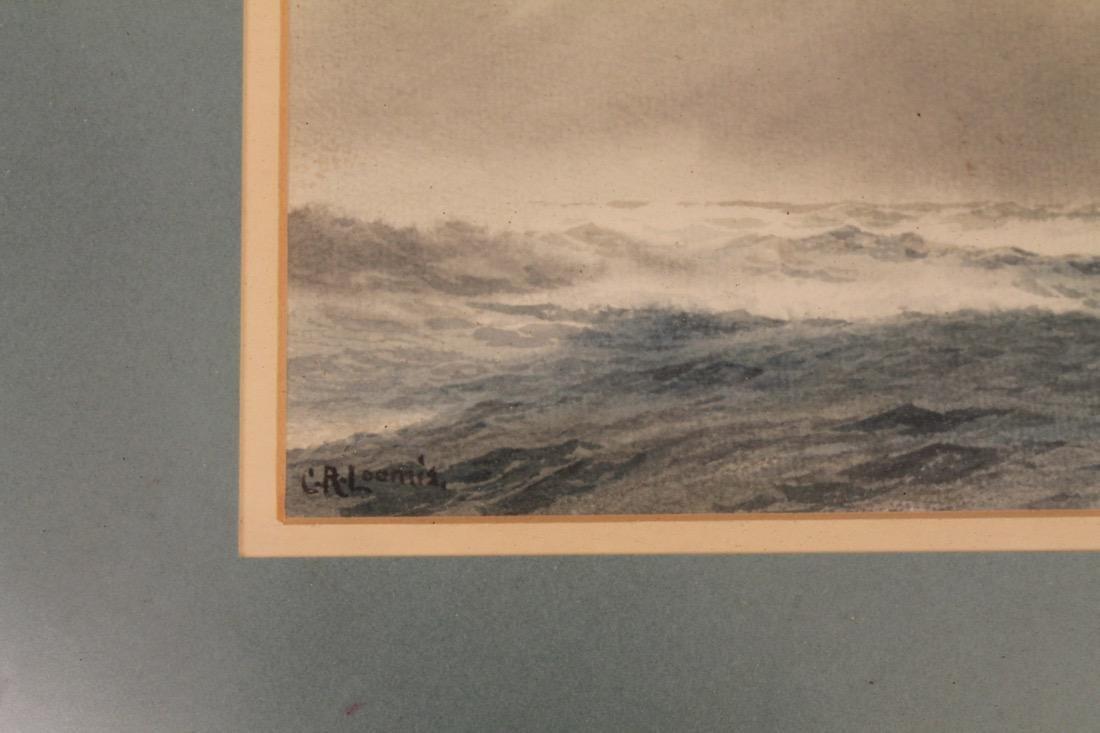 C.R. Loomis Watercolor on Paper Ocean w Sailboat - 4