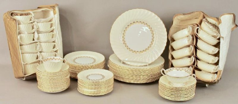 80 Pc Minton Gold Cheviot Bone China